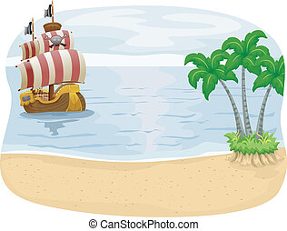 Illustration of a Pirate Ship Approaching an Island