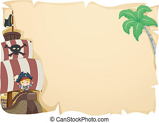 Pirate Ship Kid - Illustration of a Kid Commanding a Pirate...