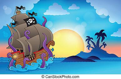 Pirate ship near small island 2 - eps10 vector illustration.