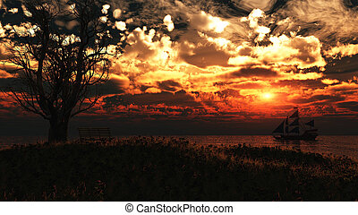 Pirate ship on peaceful ocean at sunset. - Old ancient...