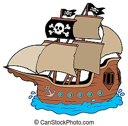 Pirate ship on white background - isolated illustration.
