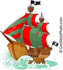 Pirate Ship  - Pirate ship on white background