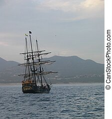 Pirate Ship - Pirate ship sailing near Cabo San Lucas,...
