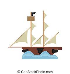 pirate ship sail adventure icon