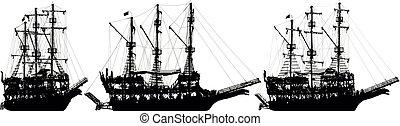 Pirate ship sailboat. Silhouette vector set