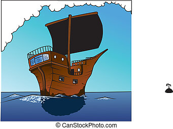 pirate ship sailing ahead - an illustration of a pirate ship...