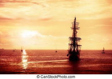 Pirate ship sailing - Treasure seeker, sailing ghost ship on...