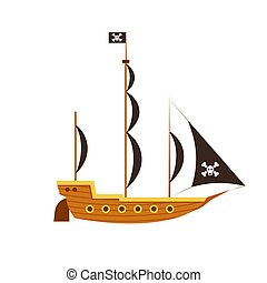 Pirate ship side view vector sea illustration boat ocean. Isolated old adventure flat antique vessel black skull flag icon.