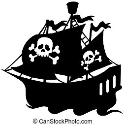 Pirate ship silhouette - isolated illustration.