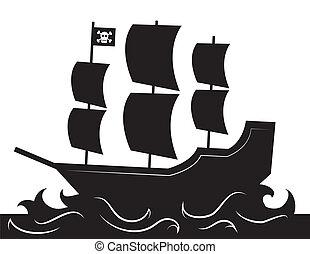 Pirate Ship Silhouette - Pirate ship silhouette with waves...