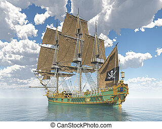 Pirate ship - Computer generated 3D illustration with a...