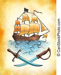 Pirate ship drawing on an old piece of stained paper....