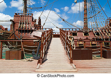 Pirate Ship - Entrance of pirate ship in park on cloudy...