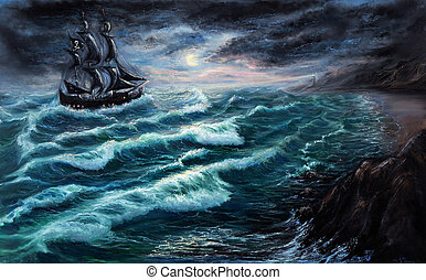 Pirate ship - Original oil painting showing pirate ship in...