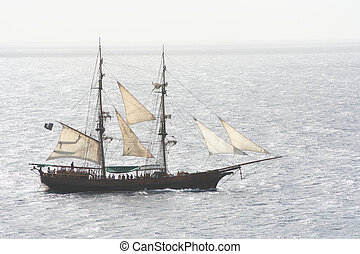 Pirate Ship - A pirate ship that is out to sea