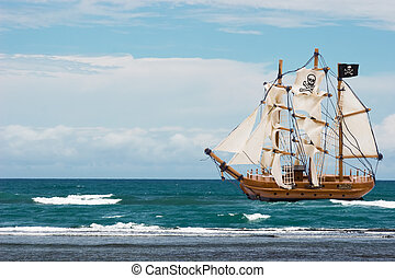 Pirate Ship - A pirate ship with black flag in the ocean,...