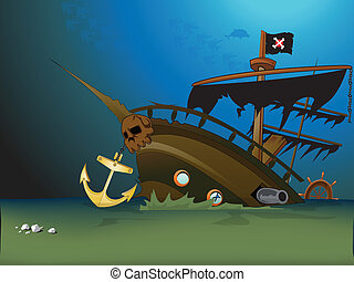 pirate ship sunk underwater