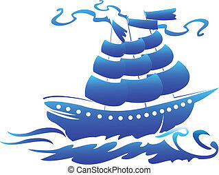 Pirate ship symbol logo
