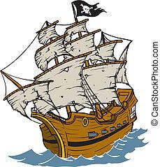 Pirate Ship - Old weathered Pirate Ship Cartoon