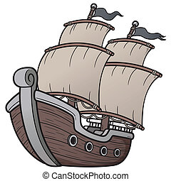 Pirate Ship - Vector illustration of Pirate Ship