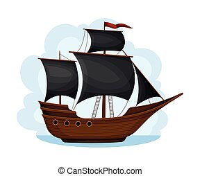 Pirate Ship with Black Sails and Square Rigged Mast Navigating Upon Water Vector Illustration. Corvette or Frigate with Wooden Deck for Conducting Piracy and Coastal Robbery Concept