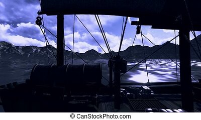 Pirate ship with old pistol - Pirate ship with old revolving...