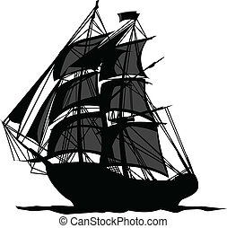 Pirate Ship with Shadows in Sails - Sailing Pirate Ship with...
