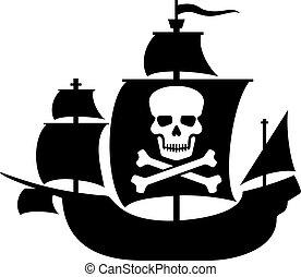 pirate ship with skull skull