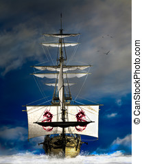 Pirate Ship - Wooden four mast sailing ship plows head on...