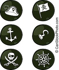pirate sign icon set vector art illustration