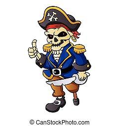 pirate skeleton cartoon.vector illustration.