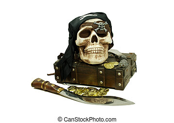 Pirate skull and booty - Pirate Skull with eye sockets and...