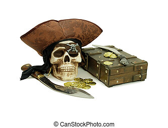 Pirate skull and booty - Pirate Skull with eye sockets and ...