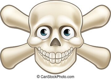 Pirate Skull and Crossbones Cartoon - Cartoon Halloween...