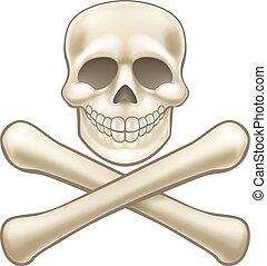 Pirate Skull and Crossbones Halloween Cartoon - A kids...