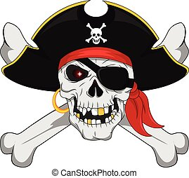Pirate skull and crossed bones - vector illustration of...