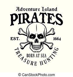 Pirate skull and crossed bones vector emblem