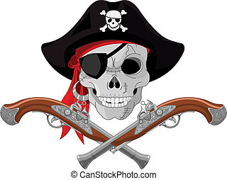 Pirate Skull and guns - Pirate Skull and crossed guns
