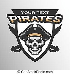 Pirate Skull and sabers badge, emblem.