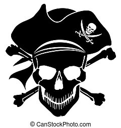 Pirate Skull Captain with Hat and Cross Bones Clipart Illustration