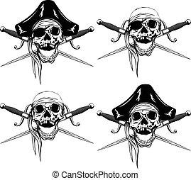 Pirate skull daggers set