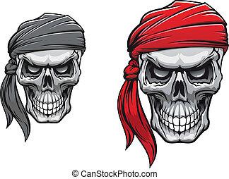 Pirate skull - Danger pirate skull in bandane for tattoo or...