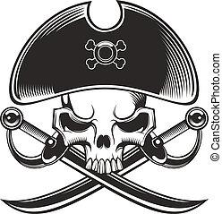 pirate skull - black and white pirate skull.