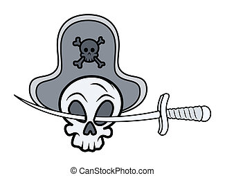 Pirate Skull Face with Sword Vector