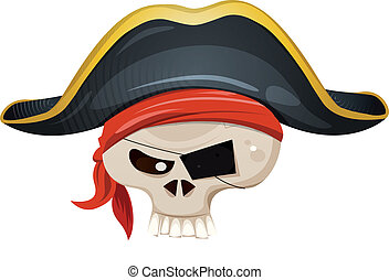 Illustration of a cartoon pirate skull head character, with bandana and corsair hat