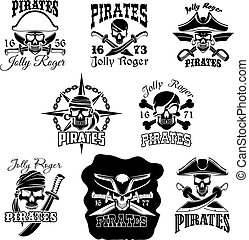 Pirate skull icon and Jolly Roger flag symbol