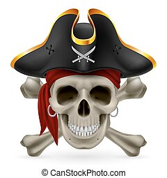 Pirate skull in red bandana and cocked hat with crossed...
