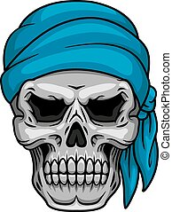 Pirate skull in blue bandana for piracy, halloween or tattoo...