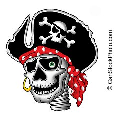 Pirate skull in hat - Color illustration of pirate skull in...