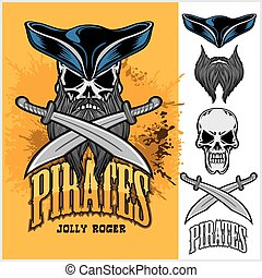 Pirate Skull in hat with Cross Swords